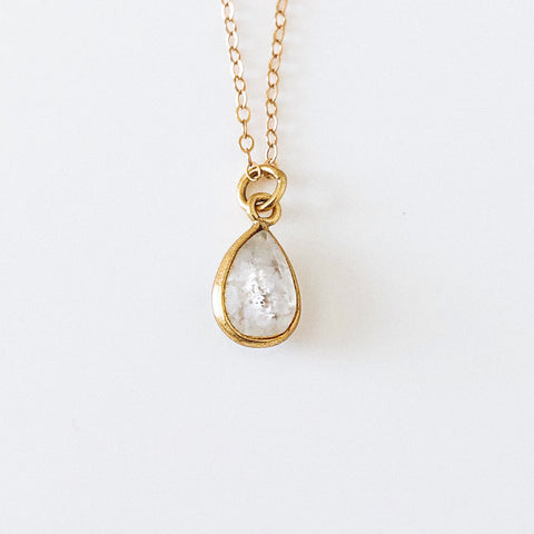 14k Gold Filled Rainbow Moonstone Teardrop Stone Dainty Necklace - Opalini Jewelry