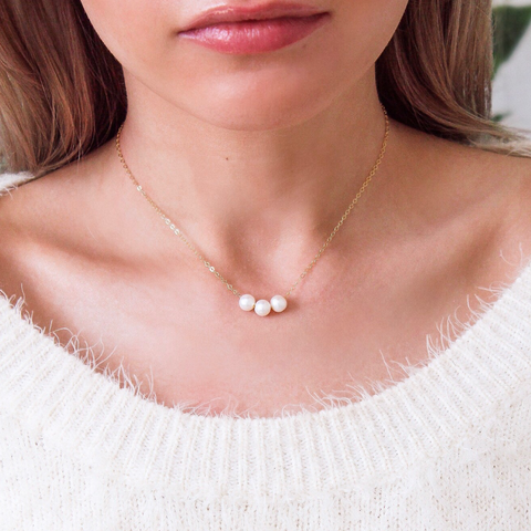 3 Pearls 14k Gold Filled Dainty Necklace - Opalini Jewelry