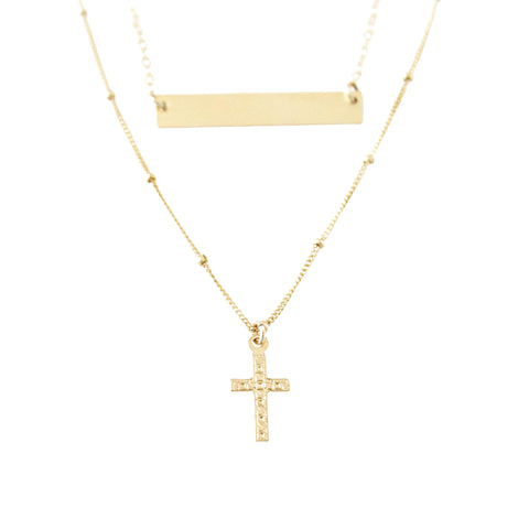 14k Gold Filled Bar And Patterned Cross Dainty Necklace, 2 in 1 Necklace. - Opalini Jewelry