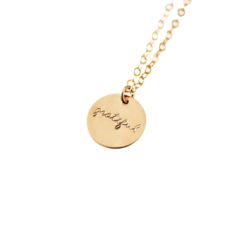 14k Gold Filled Grateful Dainty Necklace, Hand Stamped Necklace - Opalini Jewelry