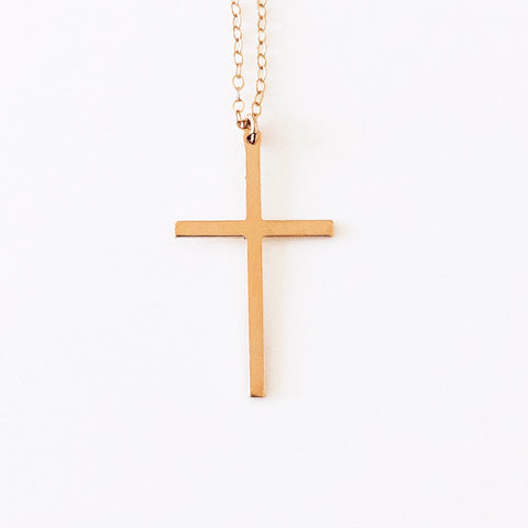 14k Gold Filled Skinny Cross Dainty Necklace - Opalini Jewelry