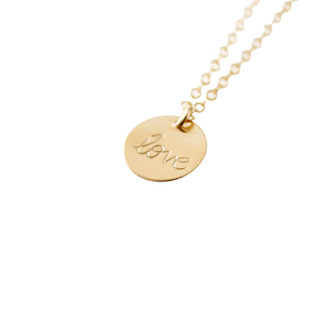 14k Gold Filled Love Dainty Necklace, Hand Stamped Necklace - Opalini Jewelry