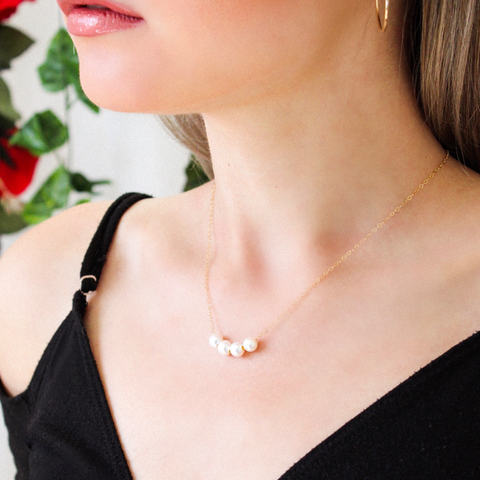 4 Pearls 14k Gold Filled Dainty Necklace - Opalini Jewelry