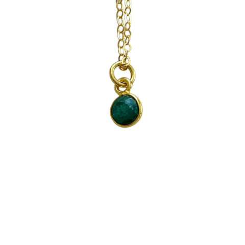 14k Gold Filled Emerald Green Stone Dainty Necklace - Opalini Jewelry