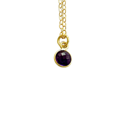 14k Gold Filled Amethyst Stone Dainty Necklace - Opalini Jewelry