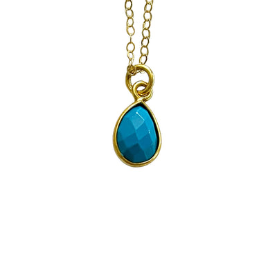 14k Gold Filled Turquoise Teardrop Stone Dainty Necklace - Opalini Jewelry