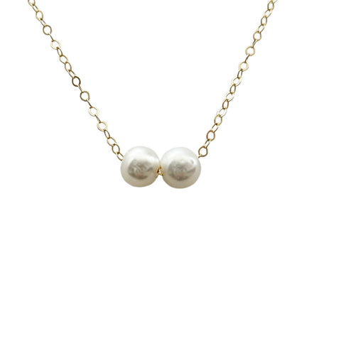 2 Pearls 14k Gold Filled Dainty Necklace - Opalini Jewelry