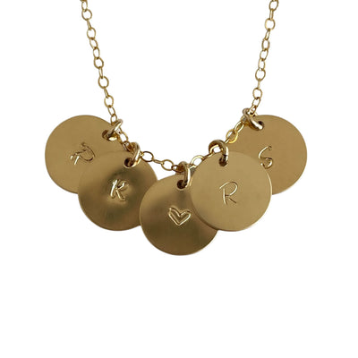 Personalized Initials Necklace, 5 14k Gold Filled Discs Dainty Necklace - Opalini Jewelry