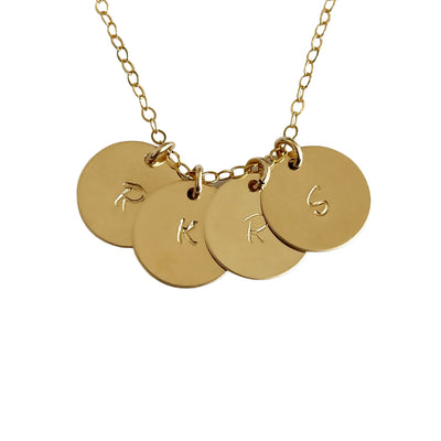 Personalized Initials Necklace, 4 14k Gold Filled Discs Dainty Necklace - Opalini Jewelry