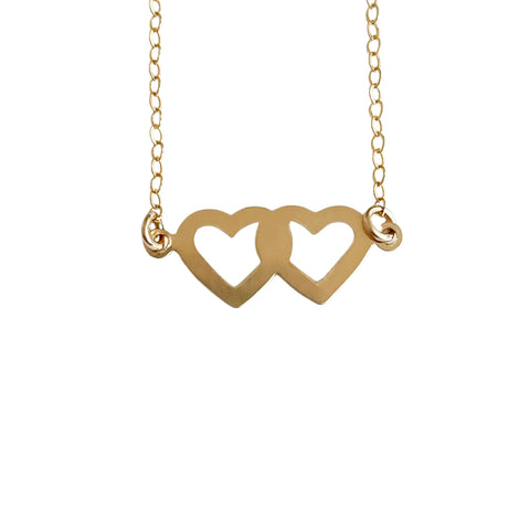 14k Gold Filled Open Double Hearts Dainty Necklace - Opalini Jewelry