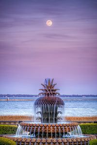 Moonrise over the Charleston Pineapple Fountain