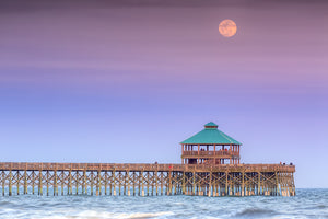 Moonrise over Folly Beach Pier