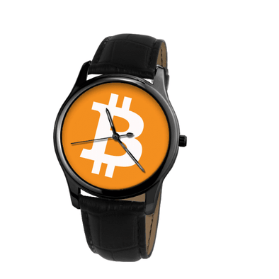 Bitcoin Black Genuine Leather Watch