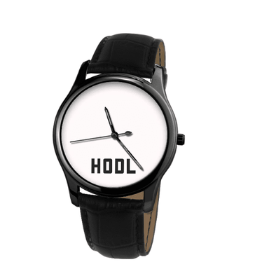HODL Black Genuine Leather Watch