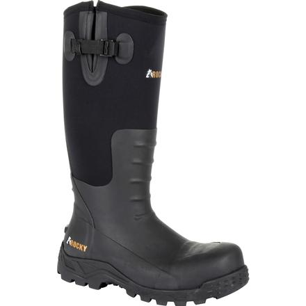 "Rocky Sport Pro Steel Toe Rubber Work Boot 16"" Expandable Calf PU"