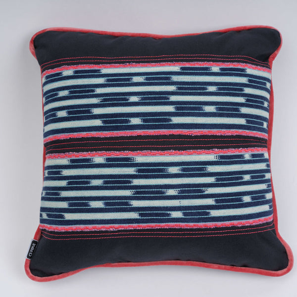 "Pillow-Baule Indigo Ikat with Pink Velvet Trim ""Parallels"""