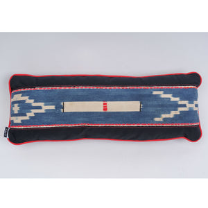 "Lumbar Pillow Baule Indigo Ikat with Red Trim ""Red Bar"""