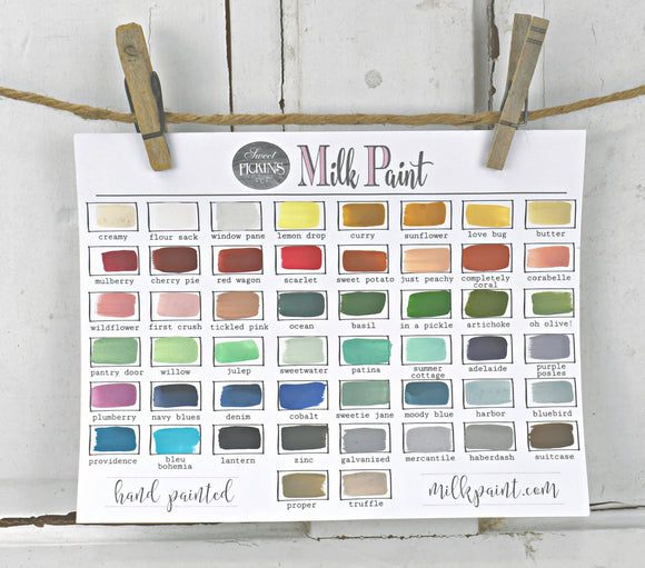 Hand Painted Colour Chart for Sweet Pickins Milk Paint
