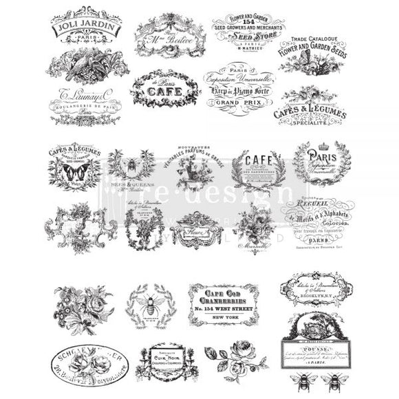 Re Design Decor Transfers / Decals ~ CLASSIC VINTAGE LABELS, 24″x30″