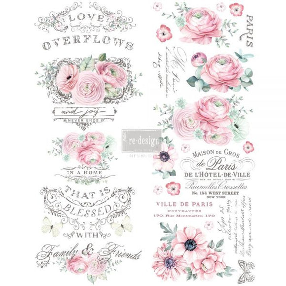 Re Design Decor Transfers / Decals ~ OVERFLOWING LOVE, 22″x30″