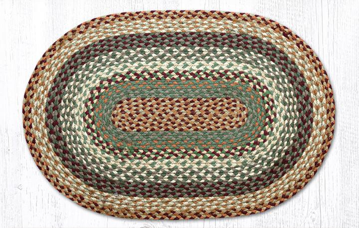 "Buttermilk/Cranberry Braided Oval Rug 20""x30"""