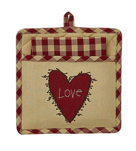 Heart And Vine Applique Potholder & Tea-Towel Set