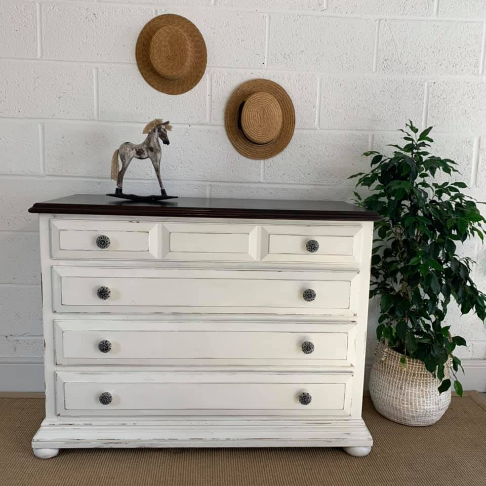 White Painted Chest of Drawers with Walnut Top
