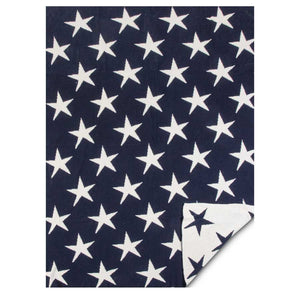 "Cotton Knit Throw Blanket Blue With White Stars 60""x50"""