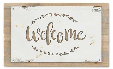 Metal Cut-Out Welcome Sign on Wood