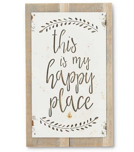 Metal Cut-Out 'This is My Happy Place' Sign on Wood