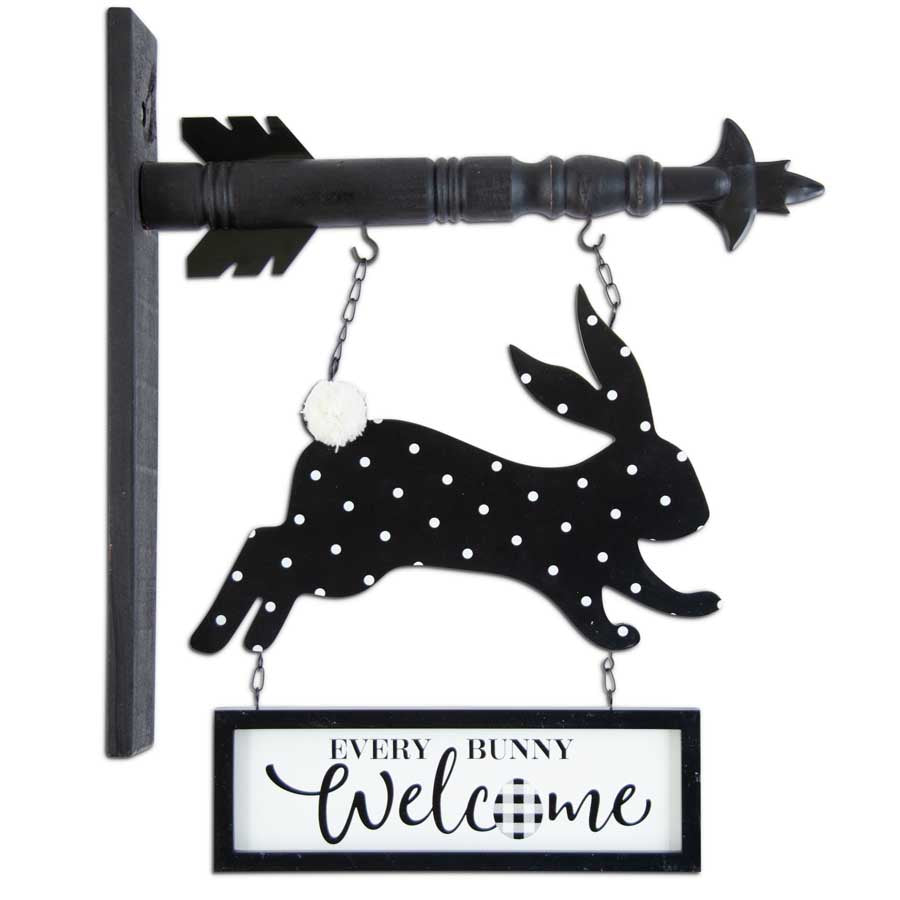 "14"" Black & White Easter Bunny ""Welcome"" Arrow Replacement"