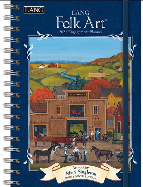 Lang 2021 Folk Art Spiral Bound Engagement Planner