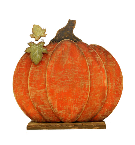 Rustic Wooden Pumpkin on Plinth