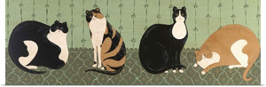 "Warren Kimble ""4 Cats"" Print 36""x12"""