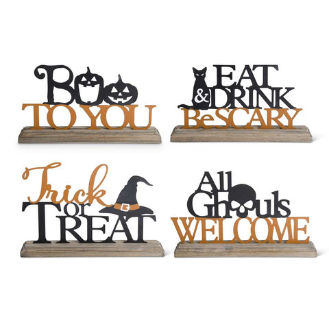 Tin Cut-Out Halloween Message on Wooden Stand