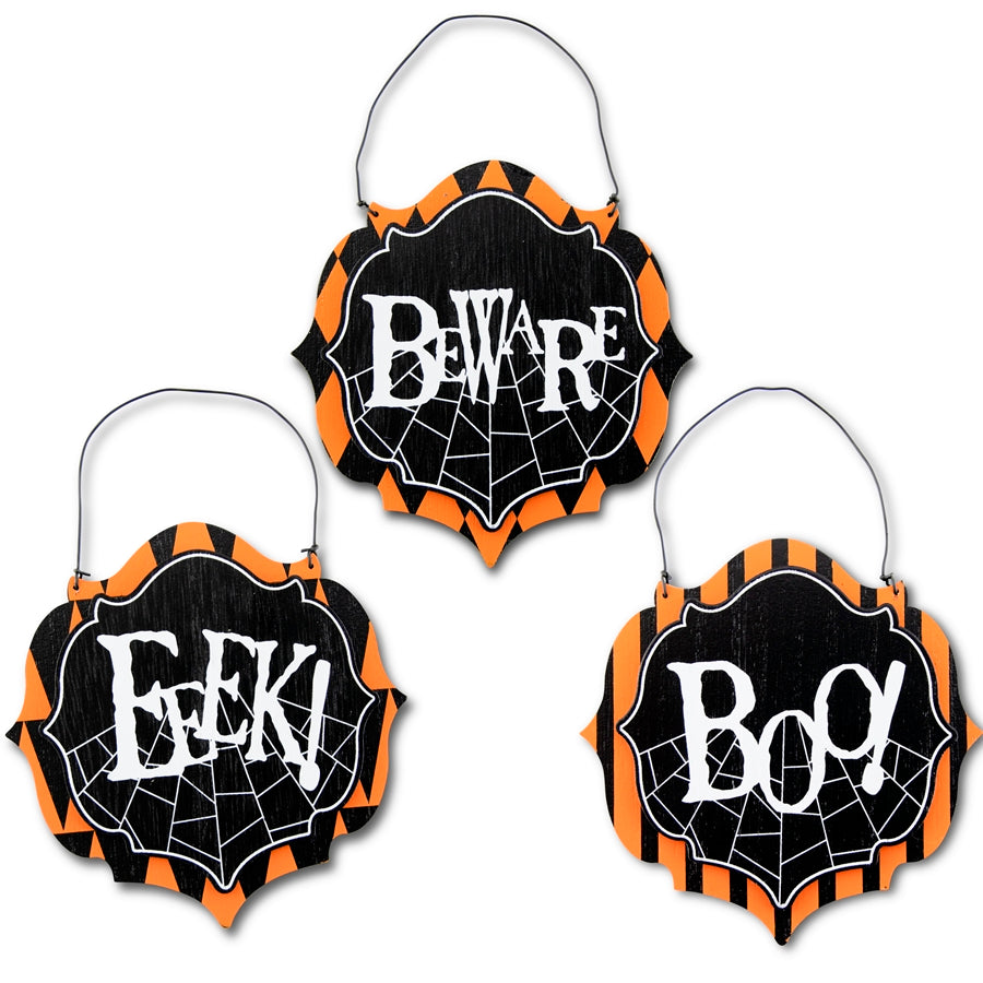 Wooden Hanging Black, White and Orange Halloween Ornament