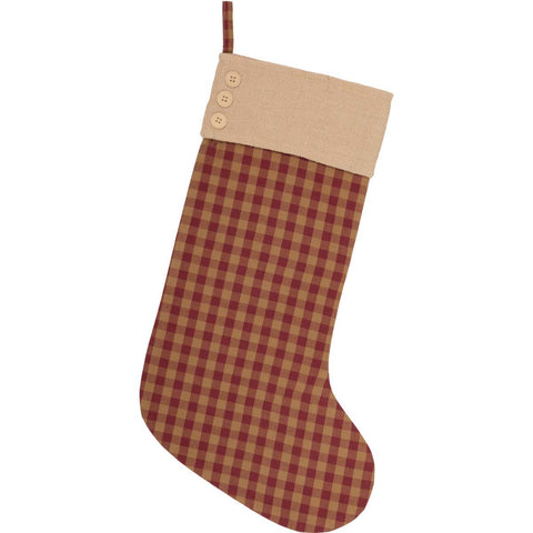 Burgundy Check Button Stocking