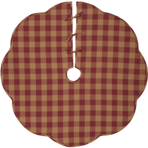 Burgundy Check Scalloped Edge Tree Skirt