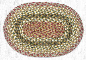 "Olive/Burgundy/Gray Oval Placemat 13""x19"""