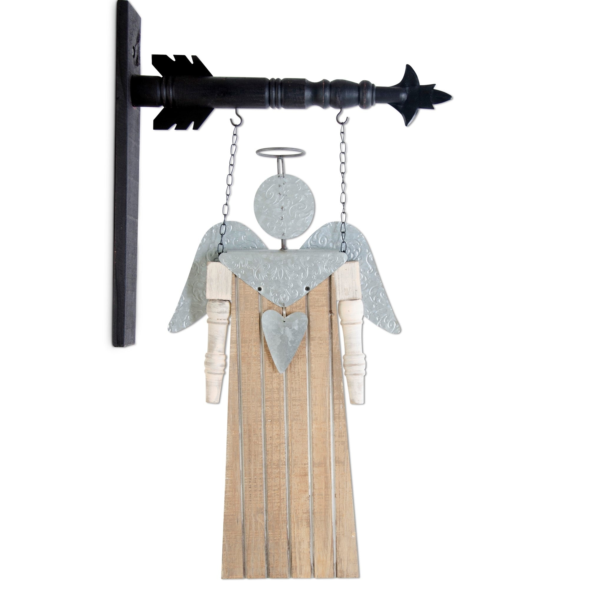 Distressed Wooden Angel Arrow Replacement, with Tin Wings