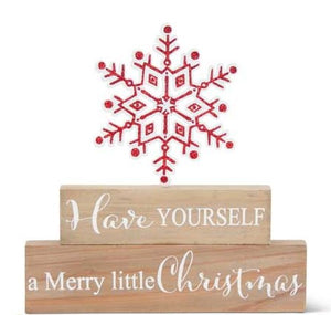 Brick Tabletop Sign with Red Cutout Glittered Snowflakes