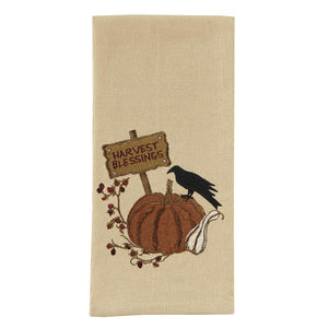 Crow & Pumpkin Embroidered Tea Towel