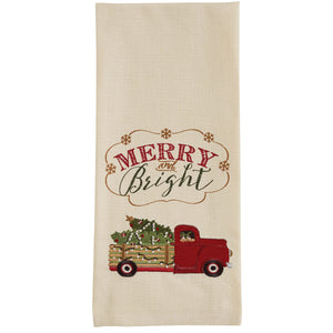 Merry & Bright Truck Embroidered Tea Towel