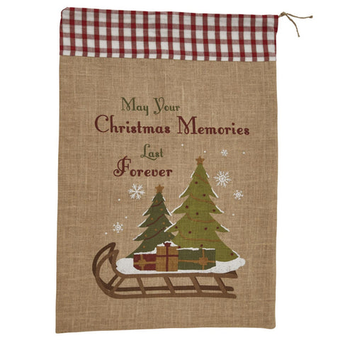 Large Christmas Memories Hessian Santa Sack