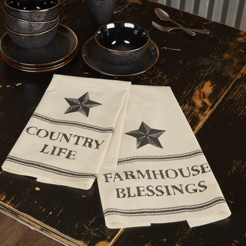 Farmhouse Star Muslin Tea Towels, Set of 2