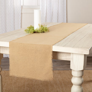 Burlap Natural Fringed Table Runner 13x72""