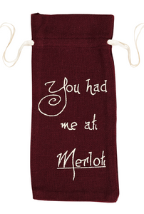Burlap Merlot Wine Bag