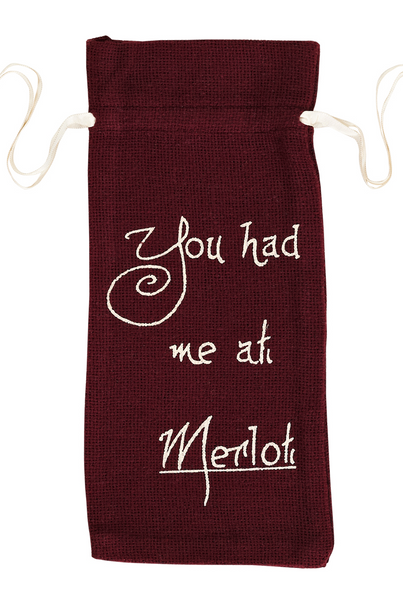MERLOT CANVAS HESSIAN WINEBAG