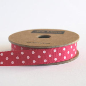 Fuschia Pink & White Spotty Ribbon, 3 Metres