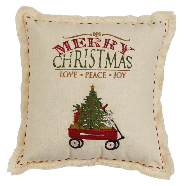 "Merry Christmas Wagon 10"" Cushion"